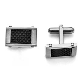 Chisel Stainless Steel and Black Carbon Fiber Rectangular Brushed and Polished Cuff Links