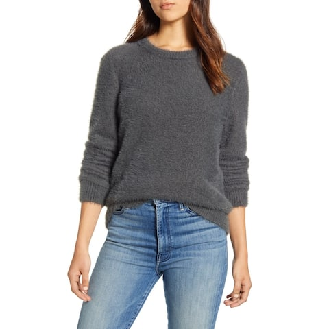 LUCKY BRAND Womens Gray Long Sleeve Jewel Neck Blouse Top Size L