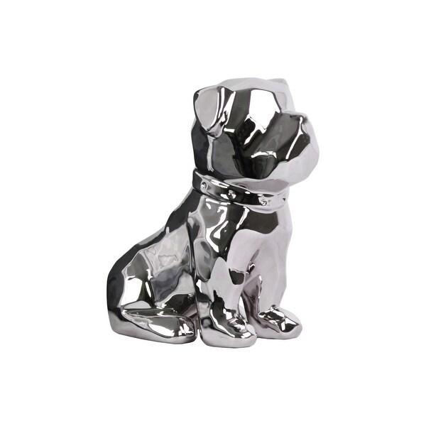 Geometrically Carved Sitting British Bulldog Figurine In Ceramic, Silver