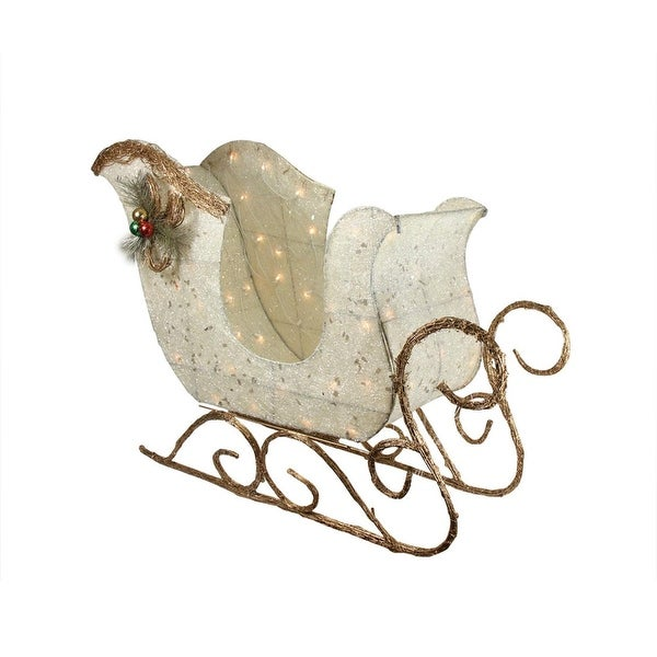 """39"""" Lighted Tinsel and Sisal Sleigh Christmas Outdoor Decoration - silver"""