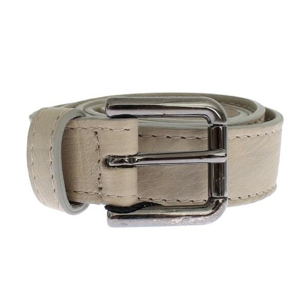 Dolce & Gabbana Beige Leather Silver Buckle Logo Belt