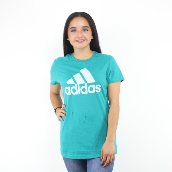 76bd6ba91 Shop Adidas White Performance Logo Women's Aqua Blue T-Shirt - Free ...