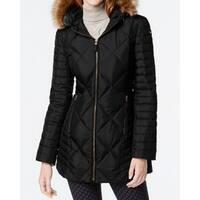Marc York Black Womens Size Medium M Faux Fur Quilted Coat