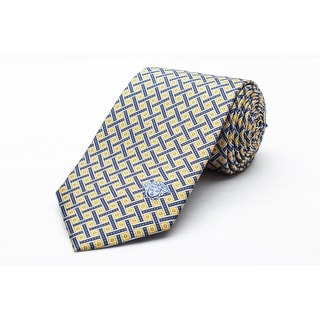 Versace Men's Medusa Logo Satin Weave Pattern Silk Neck Tie