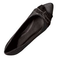 Women's Shoes - Houndstooth-Check Ballet Flat with Velvet Bows