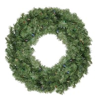 "36"" B/O Pre-Lit LED Canadian Pine Artificial Christmas Wreath - Multi Lights - green"
