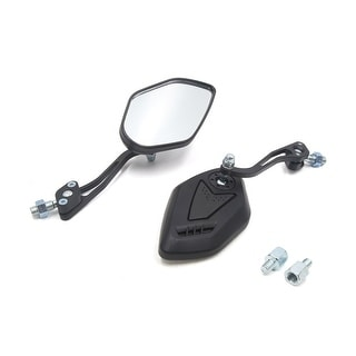 Pair Black Universal Adjustable Motorcycle Scooter Rearview Mirror W 8mm Adapter