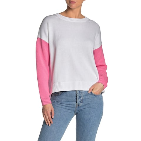 525 America Womens Sweaters White Pink Size XS Crewneck Colorblocked