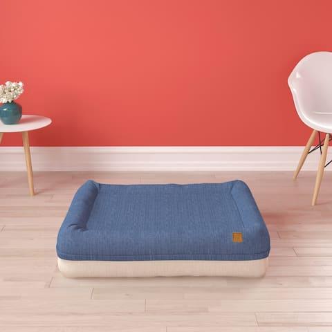 Pup Pup Kitti Plush Orthopedic Breathable Dog Bed Pillow Cushion Mattress, Blue Beige