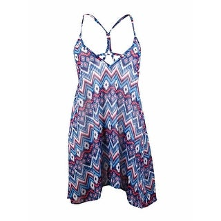 Miken Women's Tribal V-Neck Spaghetti Chiffon Swim Cover (XL, Indigo/Coral)
