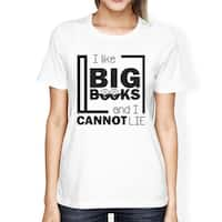 I Like Big Books Womens White Cotton Crewneck Tshirt For Teen Girls