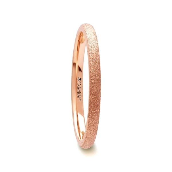 Ember Domed Womens Rose Gold Plated Tungsten Carbide Ring With Sandblasted Crystalline Finish