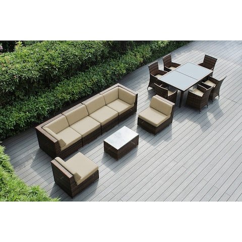 Ohana Outdoor Patio 14 Piece Mixed Brown Wicker Sofa and Dining Set