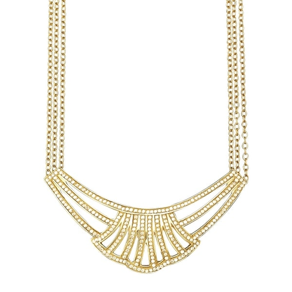 Crystaluxe Triple-Strand Necklace with Honey Swarovski Crystals in 18K Gold-Plated Sterling Silver - YELLOW