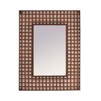 "36"" Bronze Colored Decorative Checkerboard Pattern Rectangular Mirror - Gold"