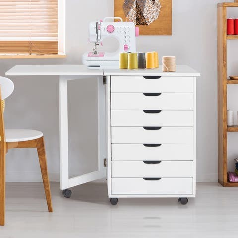 7-Drawers MDF With PVC Wooden File Cabinet White