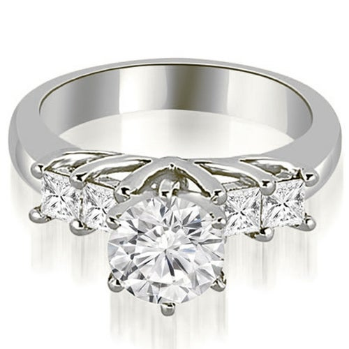 1.40 cttw. 14K White Gold Princess and Round Cut Diamond Engagement Ring