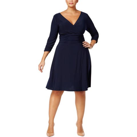 93c4c53902 NY Collection Womens Plus Cocktail Dress Ruched A-Line