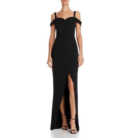 BCBGMAXAZRIA Womens Cold Shoulder Evening Formal Dress - Black