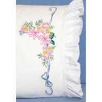"Ribbon & Flowers - Stamped Ruffled Edge Pillowcases 30""X20"" 2/Pkg"