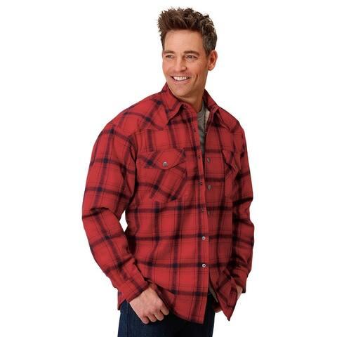 Roper Western Jacket Mens Flannel Snap Plaid Red