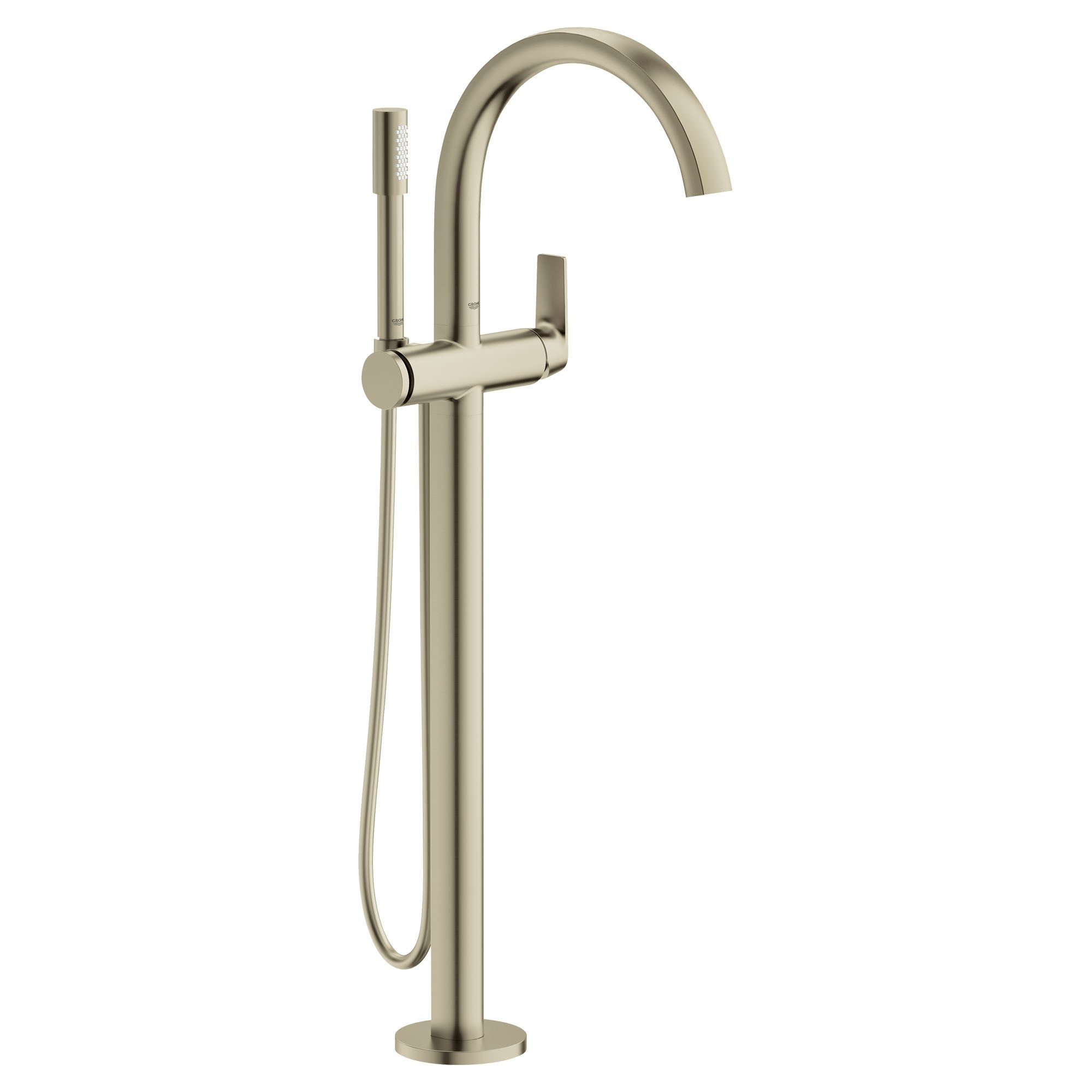 Grohe 29 302  Defined Free Standing Tub Filler with Built-In Diverter and Hand Shower (Brushed Nickel)