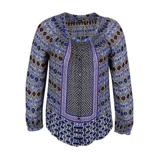 Lucky Brand Women's Long-Sleeve Printed Peasant Top - l