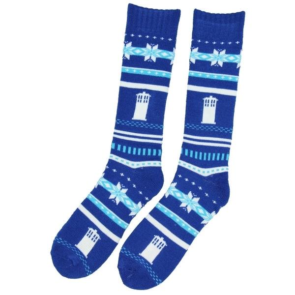 Shop Doctor Who Tardis Fair Isle Chunky Knit Sock Size 4 10 Free