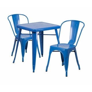 Offex Blue Metal Indoor-Outdoor Table Set With 2 Stack Chairs [OF-CH-31330-2-30-BL-GG]