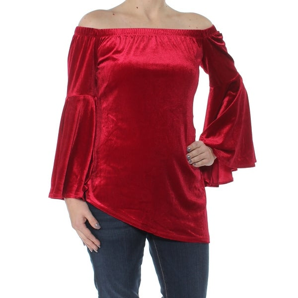 NY COLLECTION Womens Red Velvet Bell Cuff Off Shoulder Evening Top Size: S