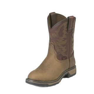 Tony Lama Work Boots Boys Kids Western Stitched Round Toe Tan TW902Y