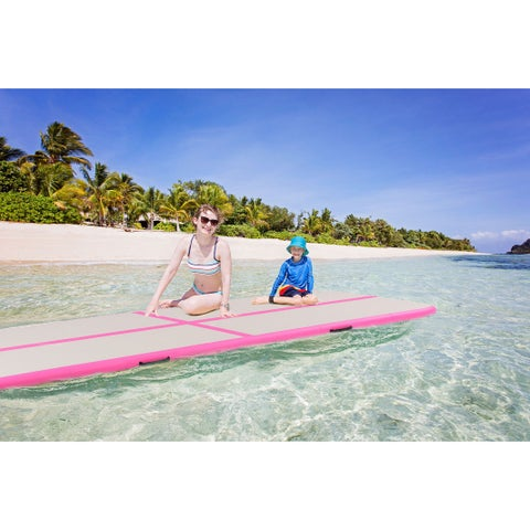 Goplus 10' Inflatable Gymnastics Mat Air Track Floor Mats Water Buoyancy with Pump Pink