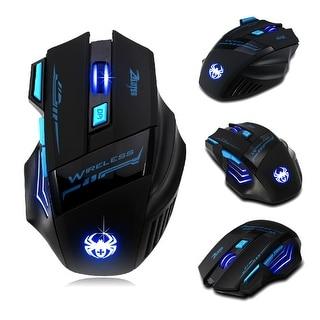 AGPtek 7 Buttons LED Optical Wireless Gaming Mouse For Win7/8 ME XP, 2400 DPI /1600 DPI /1000 DPI /600 DPI - SIZE