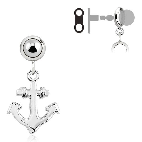 Add-On Stainless Steel ShPlated Anchor Dangle Charm for Navel Belly Button Ring, Dermal Anchors and More