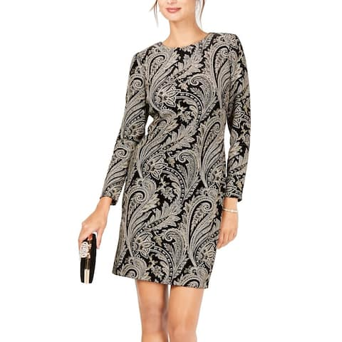 MSK Womens Sheath Dress Black Size 6 Velvet Glitter Paisley-Print