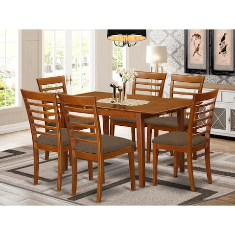 7-Piece Dining Set - Rectangle Table and 6 Chairs in Saddle Brown Finish