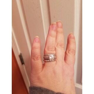 Miadora 10k White Gold Created White Sapphire Engagement Ring