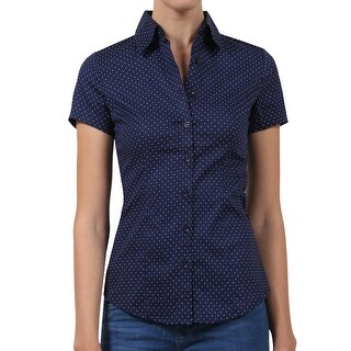 NE PEOPLE Womens Tailored Polka Dot Button Down Shirt [NEWT57]
