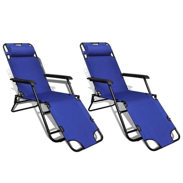 "vidaXL Folding Sun Lounger 2 pcs with Footrests Steel Blue - 70"" x 23.6"""