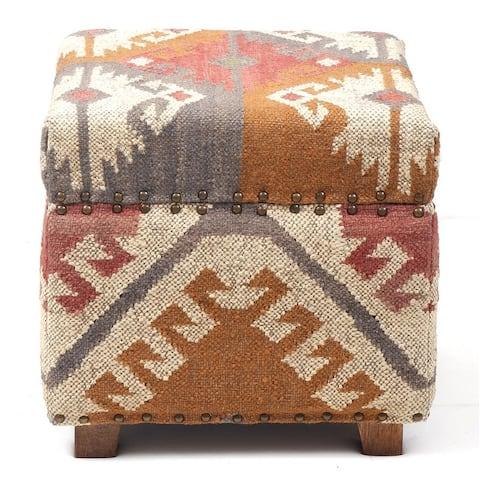 Handmade Upholstered Wooden Stool (India)