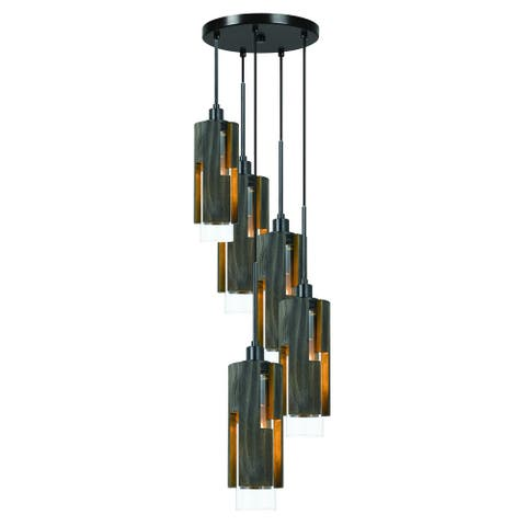 5 Light Metal Frame Pendant Fixture with Wooden and Glass Shades, Gray