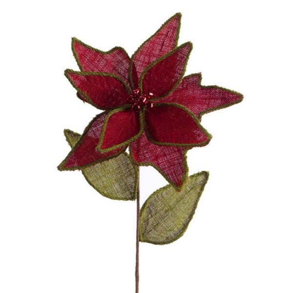 """12 Red and Green Burlap Artificial Christmas Poinsettia Stems with Balls 28"""""""