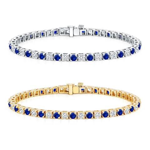 Auriya 2 1/2ct Round Blue Sapphire and 2 1/2ctw Diamond Tennis Bracelet 14k Gold