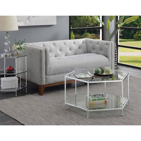 Silver Orchid Farrar Hexagonal Chrome Coffee Table