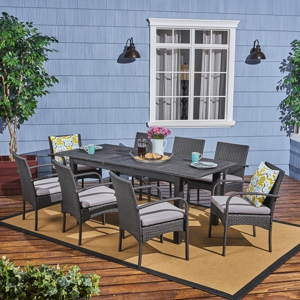 Elmar Outdoor Wood and Wicker 9-piece Expandable Dining Set by Christopher Knight Home. Opens flyout.