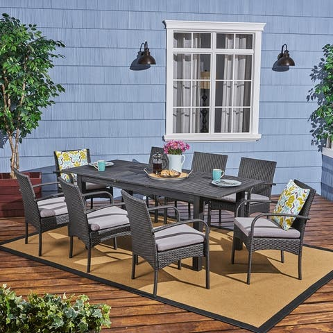 Elmar Outdoor Wood and Wicker 9-piece Expandable Dining Set by Christopher Knight Home