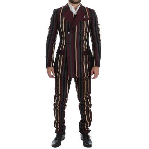 Dolce & Gabbana Multicolor Striped Runway 3 Piece Slim Fit Men's Suit - it48-m