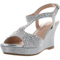 De Blossom Collection Womens Winni-12 Dress Wedge Sparkle Party Sandals