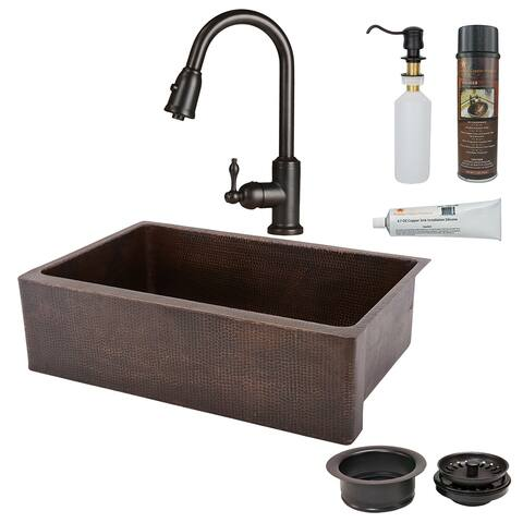 Premier Copper Products KSP2_KASDB33229 Kitchen Sink, Pull Down Faucet and Accessories Package