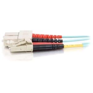 C2g 33052 2M Lc-Sc 10Gb 50/125 Om3 Duplex Multimode Pvc Fiber Optic Cable - Aqua